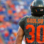 University of Florida Gators tight end DeAndre Goolsby during pregame as the Florida Gators drop to 3-3 on the season with a loss to tne Texas A&M Aggies 19-17 at Ben Hill Griffin Stadium in Gainesville, Florida. October 14th, 2017.  Gator Country photo by David Bowie.