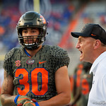 University of Florida Gators tight ends coach Greg Nord coaching up the tight ends during pregame as the Florida Gators drop to 3-3 on the season with a loss to tne Texas A&M Aggies 19-17 at Ben Hill Griffin Stadium in Gainesville, Florida. October 14th, 2017.  Gator Country photo by David Bowie.