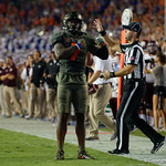University of Florida Gators defensive back Duke Dawson celebrating during the first haf as the Florida Gators drop to 3-3 on the season with a loss to tne Texas A&M Aggies 19-17 at Ben Hill Griffin Stadium in Gainesville, Florida. October 14th, 2017.  Gator Country photo by David Bowie.