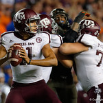 Aggies quarterback Kellen Mond looking downfield during the second haf as the Florida Gators drop to 3-3 on the season with a loss to tne Texas A&M Aggies 19-17 at Ben Hill Griffin Stadium in Gainesville, Florida. October 14th, 2017.  Gator Country photo by David Bowie.