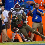 University of Florida Gators running back Lamical Perine rushes into the endzone for a touchdown during the first haf as the Florida Gators drop to 3-3 on the season with a loss to tne Texas A&M Aggies 19-17 at Ben Hill Griffin Stadium in Gainesville, Florida. October 14th, 2017.  Gator Country photo by David Bowie.