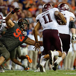 University of Florida Gators defensive lineman Taven Bryan dives to make a tackle during the second haf as the Florida Gators drop to 3-3 on the season with a loss to tne Texas A&M Aggies 19-17 at Ben Hill Griffin Stadium in Gainesville, Florida. October 14th, 2017.  Gator Country photo by David Bowie.