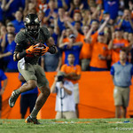 University of Florida Gators defensive back Jeawon Taylor makes an interception during the first haf as the Florida Gators drop to 3-3 on the season with a loss to tne Texas A&M Aggies 19-17 at Ben Hill Griffin Stadium in Gainesville, Florida. October 14th, 2017.  Gator Country photo by David Bowie.