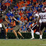 University of Florida Gators quarterback Feleipe Franks looking downfield during the second half as the Florida Gators drop to 3-3 on the season with a loss to tne Texas A&M Aggies 19-17 at Ben Hill Griffin Stadium in Gainesville, Florida. October 14th, 2017.  Gator Country photo by David Bowie.