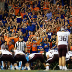Gators fans try to distract aggies kicker Daniel LaCamera during the second haf as the Florida Gators drop to 3-3 on the season with a loss to tne Texas A&M Aggies 19-17 at Ben Hill Griffin Stadium in Gainesville, Florida. October 14th, 2017.  Gator Country photo by David Bowie.