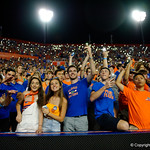 Fans light up the stadium with their phones during the second haf as the Florida Gators drop to 3-3 on the season with a loss to tne Texas A&M Aggies 19-17 at Ben Hill Griffin Stadium in Gainesville, Florida. October 14th, 2017.  Gator Country photo by David Bowie.
