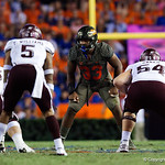 University of Florida Gators linebacker David Reese during the first haf as the Florida Gators drop to 3-3 on the season with a loss to tne Texas A&M Aggies 19-17 at Ben Hill Griffin Stadium in Gainesville, Florida. October 14th, 2017.  Gator Country photo by David Bowie.