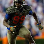 University of Florida Gators defensive lineman Jachai Polite during the second haf as the Florida Gators drop to 3-3 on the season with a loss to tne Texas A&M Aggies 19-17 at Ben Hill Griffin Stadium in Gainesville, Florida. October 14th, 2017.  Gator Country photo by David Bowie.