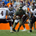 University of Florida Gators running back Malik Davis rushing during the second haf as the Florida Gators drop to 3-3 on the season with a loss to tne Texas A&M Aggies 19-17 at Ben Hill Griffin Stadium in Gainesville, Florida. October 14th, 2017.  Gator Country photo by David Bowie.