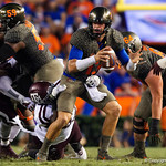 University of Florida Gators quarterback Feleipe Franks sacked during the first haf as the Florida Gators drop to 3-3 on the season with a loss to tne Texas A&M Aggies 19-17 at Ben Hill Griffin Stadium in Gainesville, Florida. October 14th, 2017.  Gator Country photo by David Bowie.