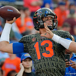 University of Florida Gators quarterback Feleipe Franks throwing during pregame as the Florida Gators drop to 3-3 on the season with a loss to tne Texas A&M Aggies 19-17 at Ben Hill Griffin Stadium in Gainesville, Florida. October 14th, 2017.  Gator Country photo by David Bowie.