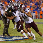 Aggies quarterback Kellen Mond turns the corner during the first haf as the Florida Gators drop to 3-3 on the season with a loss to tne Texas A&M Aggies 19-17 at Ben Hill Griffin Stadium in Gainesville, Florida. October 14th, 2017.  Gator Country photo by David Bowie.