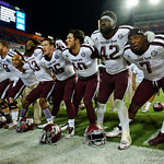 Texas A&M celebrates their win during postgame as the Florida Gators drop to 3-3 on the season with a loss to tne Texas A&M Aggies 19-17 at Ben Hill Griffin Stadium in Gainesville, Florida. October 14th, 2017.  Gator Country photo by David Bowie.