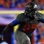 University of Florida Gators defensive lineman Jachai Polite during the first haf as the Florida Gators drop to 3-3 on the season with a loss to tne Texas A&M Aggies 19-17 at Ben Hill Griffin Stadium in Gainesville, Florida. October 14th, 2017.  Gator Country photo by David Bowie.
