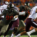 University of Florida Gators defensive end Antonneous Clayton reaches out trying to make a sack during the first haf as the Florida Gators drop to 3-3 on the season with a loss to tne Texas A&M Aggies 19-17 at Ben Hill Griffin Stadium in Gainesville, Florida. October 14th, 2017.  Gator Country photo by David Bowie.