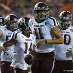 Aggies quarterback Kellen Mond celebrates after scoring during the first haf as the Florida Gators drop to 3-3 on the season with a loss to tne Texas A&M Aggies 19-17 at Ben Hill Griffin Stadium in Gainesville, Florida. October 14th, 2017.  Gator Country photo by David Bowie.