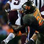 University of Florida Gators linebacker Kylan Johnson making a tackle during the first haf as the Florida Gators drop to 3-3 on the season with a loss to tne Texas A&M Aggies 19-17 at Ben Hill Griffin Stadium in Gainesville, Florida. October 14th, 2017.  Gator Country photo by David Bowie.