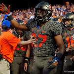 University of Florida Gators defensive back Quincy Lenton during pregame as the Florida Gators drop to 3-3 on the season with a loss to tne Texas A&M Aggies 19-17 at Ben Hill Griffin Stadium in Gainesville, Florida. October 14th, 2017.  Gator Country photo by David Bowie.