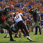 University of Florida Gators kicker Eddy Pineiro kicking in a field goal during the first haf as the Florida Gators drop to 3-3 on the season with a loss to tne Texas A&M Aggies 19-17 at Ben Hill Griffin Stadium in Gainesville, Florida. October 14th, 2017.  Gator Country photo by David Bowie.