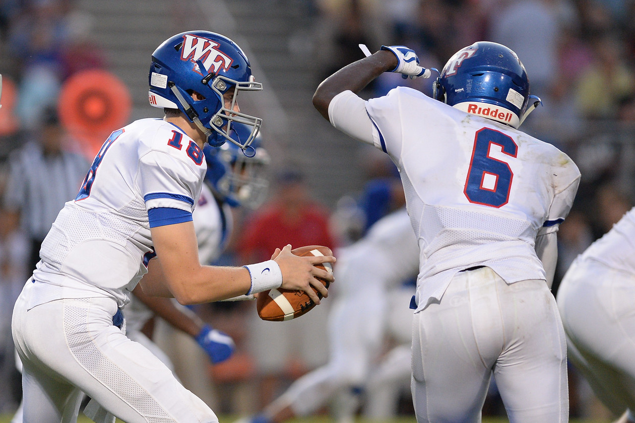Wake Forest Chris James (18) and Wake Forest Marquis Dunn (6) during tonights game.Wake Forest defeats Southern Nash 35-0, Friday evening September 15, 2017 (Photos by Anthony Barham / WRAL contributor.)