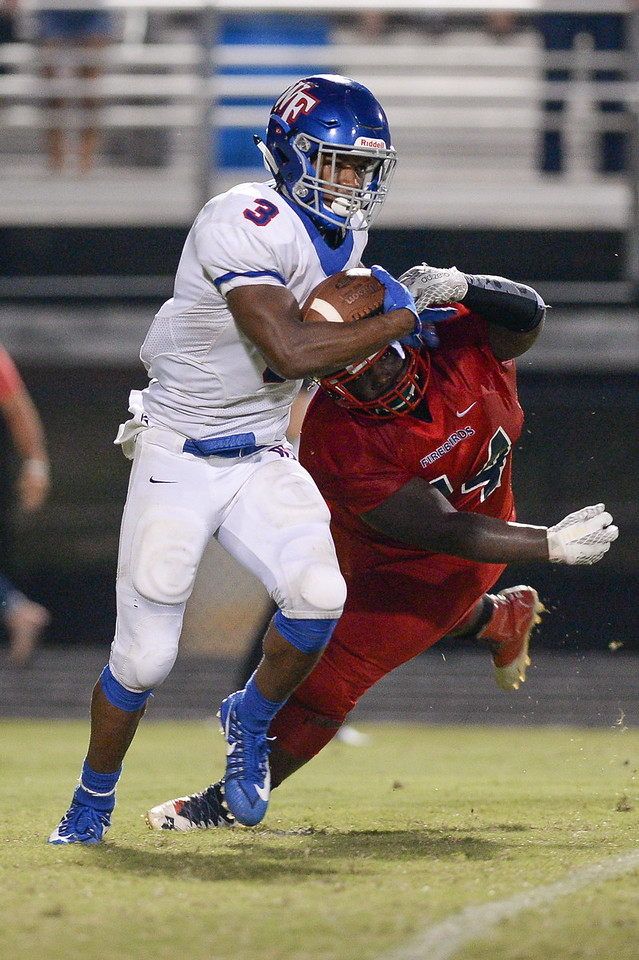 Wake Forest Devon Lawrence (3) during tonights game.Wake Forest defeats Southern Nash 35-0, Friday evening September 15, 2017 (Photos by Anthony Barham / WRAL contributor.)