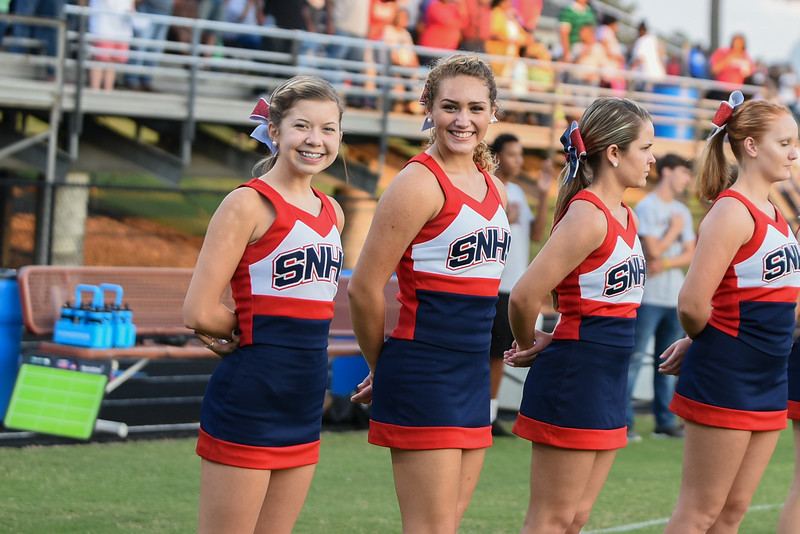 Southern Nash cheerleaders during tonights game.Wake Forest defeats Southern Nash 35-0, Friday evening September 15, 2017 (Photos by Anthony Barham / WRAL contributor.)