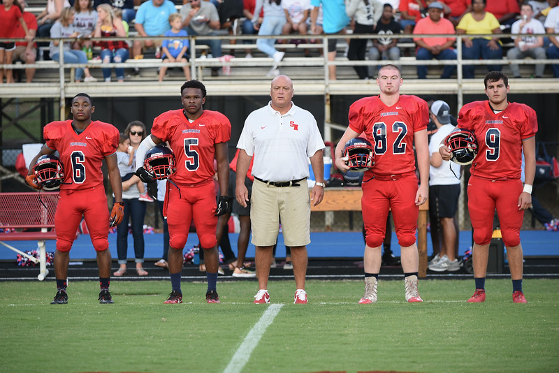 Southern Nash Kendrick Bell (6) Southern Nash Dae'one Wilkins (5) Southern Nash Chris Smith (82) Southern Nash Hunter Perry (9) Head coach Brian Foster during tonights game.Wake Forest defeats Southern Nash 35-0, Friday evening September 15, 2017 (Photos by Anthony Barham / WRAL contributor.)