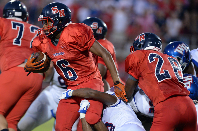 Southern Nash Kendrick Bell (6) during tonights game.Wake Forest defeats Southern Nash 35-0, Friday evening September 15, 2017 (Photos by Anthony Barham / WRAL contributor.)