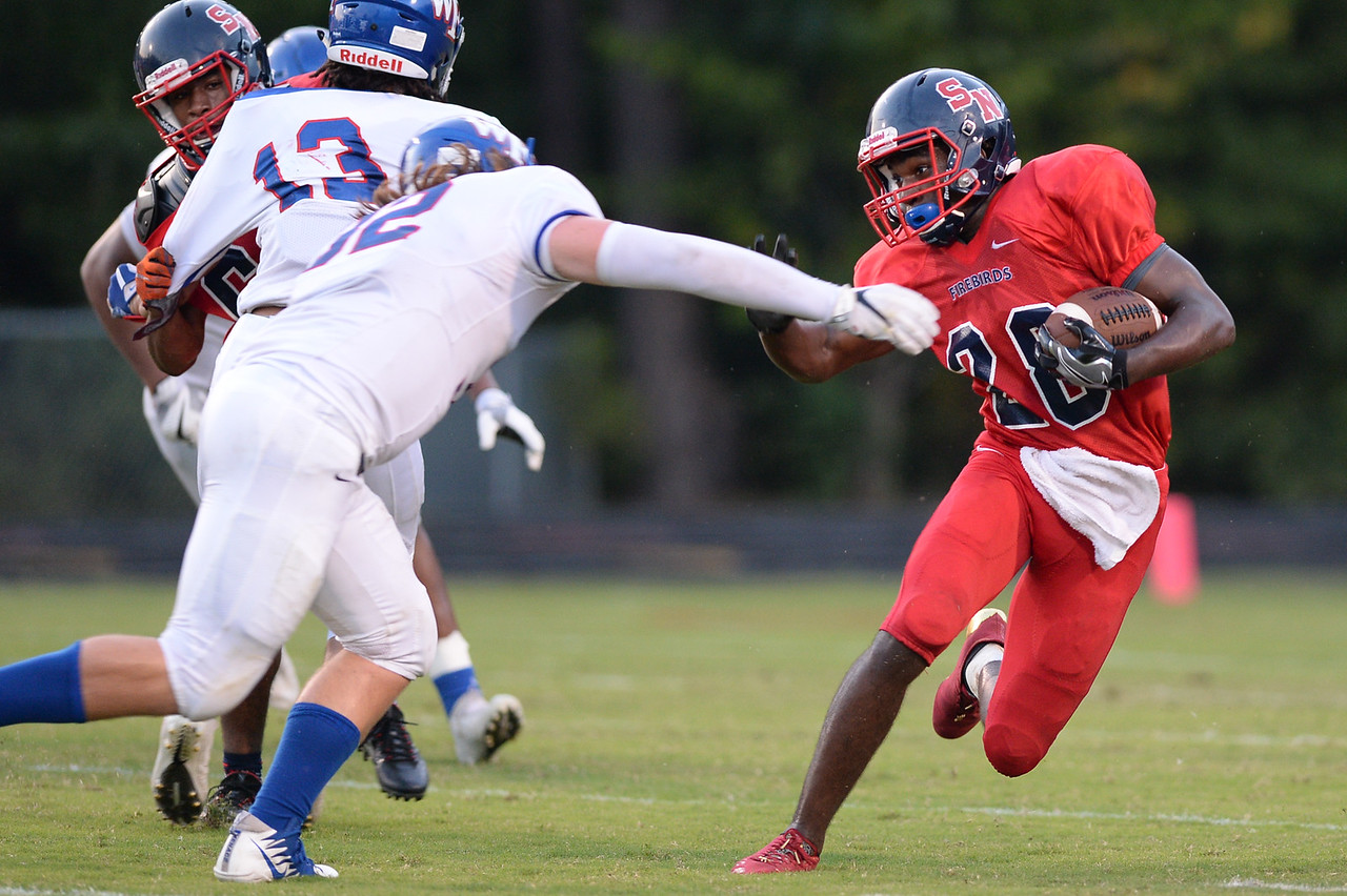 """Southern Nash Zonovan """"bam"""" knight (28) during tonights game.Wake Forest defeats Southern Nash 35-0, Friday evening September 15, 2017 (Photos by Anthony Barham / WRAL contributor.)"""