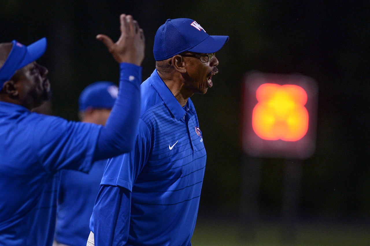 Wake Forest coach during tonights game.Wake Forest defeats Southern Nash 35-0, Friday evening September 15, 2017 (Photos by Anthony Barham / WRAL contributor.)