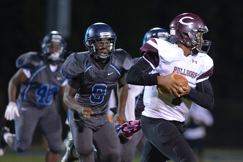 Southwest Edgecombe Jelan Smith (9) and Nash Central Travis Griffin (1) during tonight's game.Southwest Edgecombe defeats Nash Central 24-14, Friday evening October 13, 2017 (Photos by Anthony Barham / WRAL contributor.)