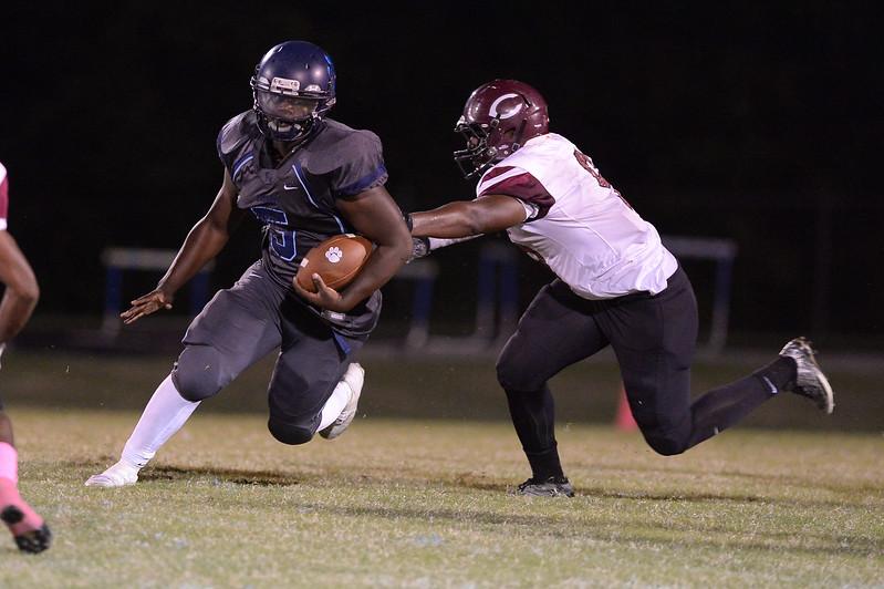 Southwest Edgecombe Alex Foster (5) during tonight's game.Southwest Edgecombe defeats Nash Central 24-14, Friday evening October 13, 2017 (Photos by Anthony Barham / WRAL contributor.)