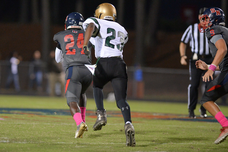 Southern Nash Quinton Cooley (24) and Northern Nash Zashon Jenkins (23) during tonight's game.Southern Nash defeats Northern Nash 49-0 Friday evening October13, 2017 (Photos by Anthony Barham / WRAL contributor.)