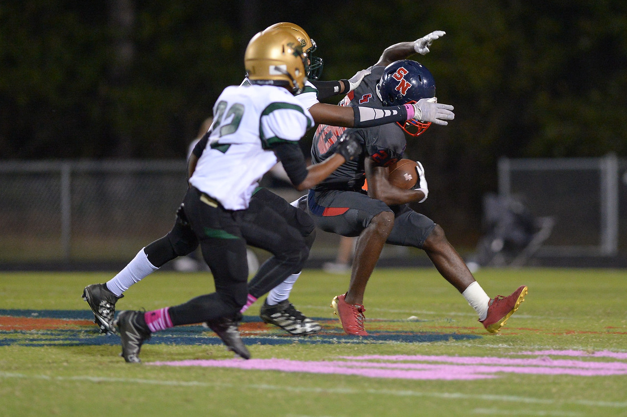 """Southern Nash Zonovan """"bam"""" knight (28) during tonight's game.Southern Nash defeats Northern Nash 49-0 Friday evening October13, 2017 (Photos by Anthony Barham / WRAL contributor.)"""