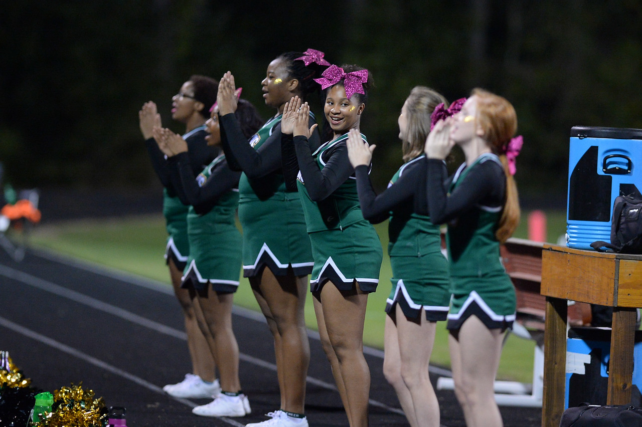 Northern Nash cheerleaders during tonight game.Southern Nash defeats Northern Nash 49-0 Friday evening October13, 2017 (Photos by Anthony Barham / WRAL contributor.)