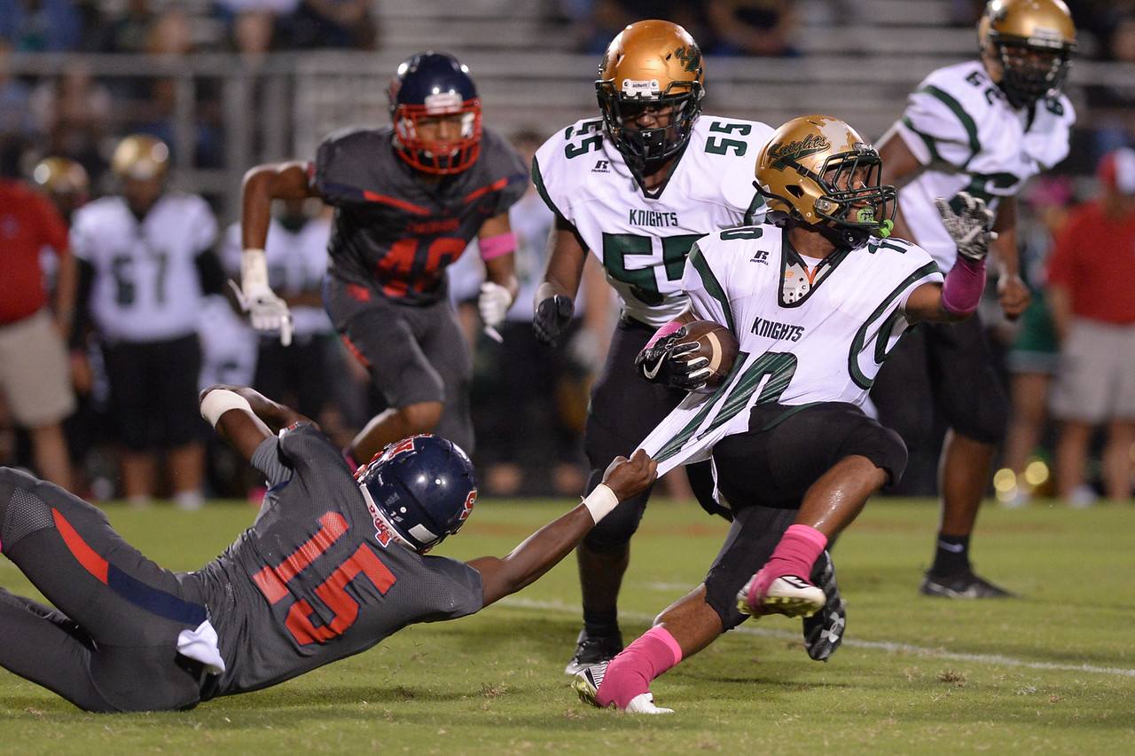 Northern Nash Bryce Miles (10) and Southern Nash Kedric Anderson (15) during tonight's game.Southern Nash defeats Northern Nash 49-0 Friday evening October13, 2017 (Photos by Anthony Barham / WRAL contributor.)