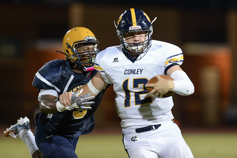 D.H. Conley Holton Ahlers (12) during tonights game.D.H. Conley  defeats Rocky Mount 60-43, Friday evening August 25, 2017 in Rocky Mount , NC (Photos by Anthony Barham / WRAL contributor.)