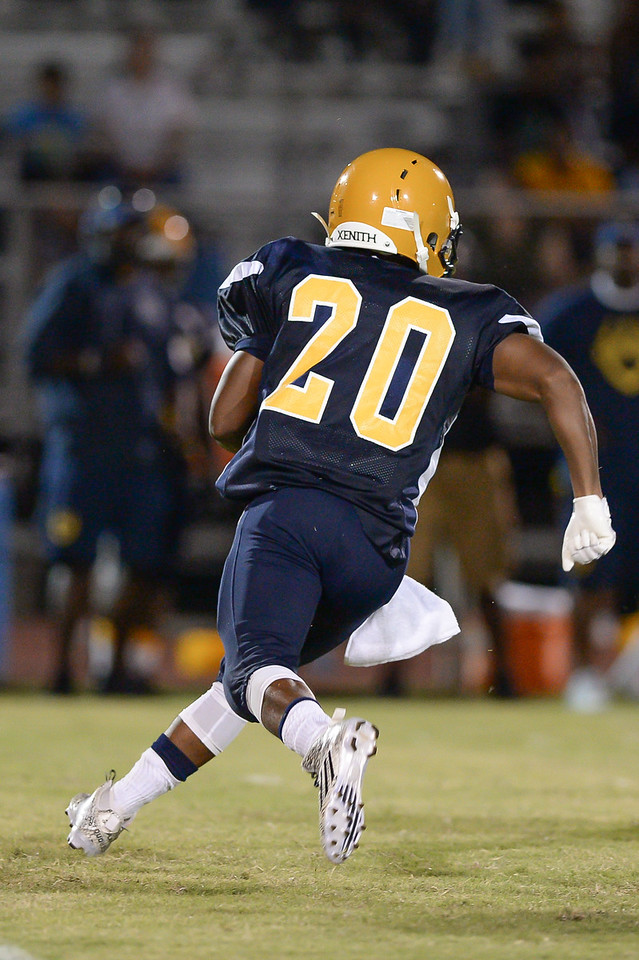 Rocky Mount Donomesion Brown (20) during tonights game.D.H. Conley  defeats Rocky Mount 60-43, Friday evening August 25, 2017 in Rocky Mount , NC (Photos by Anthony Barham / WRAL contributor.)
