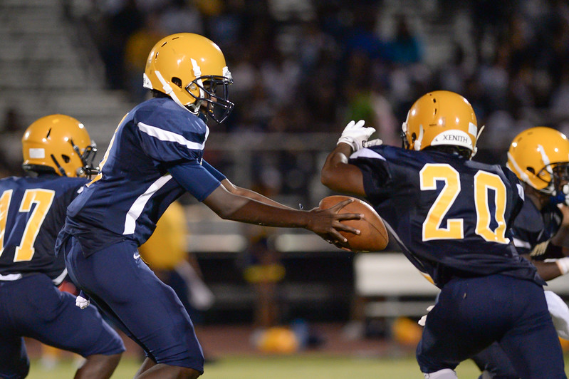 Rocky Mount Jaquan Lynch (C) (3) and Rocky Mount Donomesion Brown (20) during tonights game.D.H. Conley  defeats Rocky Mount 60-43, Friday evening August 25, 2017 in Rocky Mount , NC (Photos by Anthony Barham / WRAL contributor.)