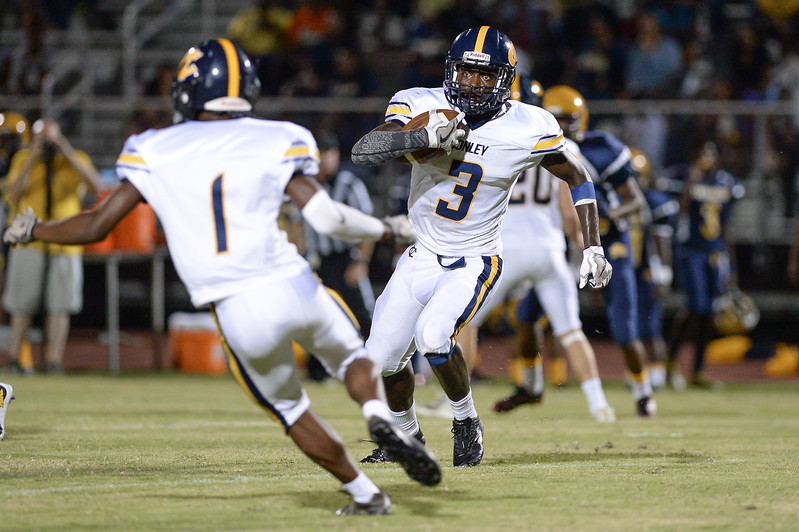 D.H. Conley Jazion Daniels (3) during tonights game.D.H. Conley  defeats Rocky Mount 60-43, Friday evening August 25, 2017 in Rocky Mount , NC (Photos by Anthony Barham / WRAL contributor.)
