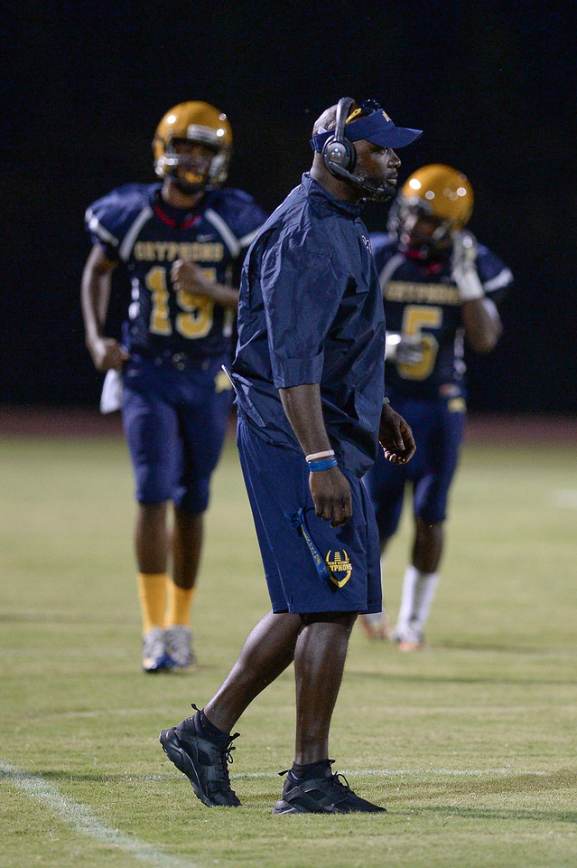 Rocky Mount head coach during tonights game.D.H. Conley  defeats Rocky Mount 60-43, Friday evening August 25, 2017 in Rocky Mount , NC (Photos by Anthony Barham / WRAL contributor.)