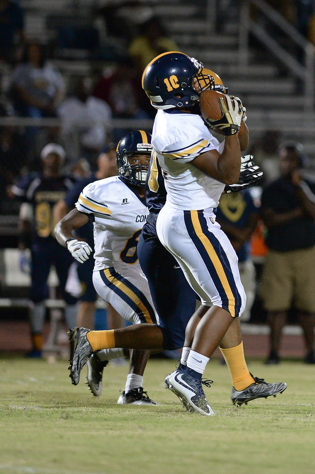 D.H. Conley Kam Weaver (10) during tonights game.D.H. Conley  defeats Rocky Mount 60-43, Friday evening August 25, 2017 in Rocky Mount , NC (Photos by Anthony Barham / WRAL contributor.)