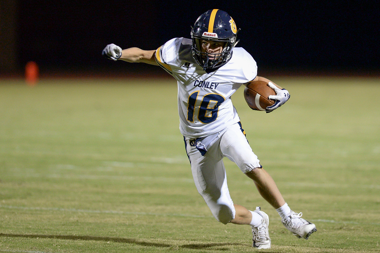 D.H. Conley Matthew Rostar (18) during tonights game.D.H. Conley  defeats Rocky Mount 60-43, Friday evening August 25, 2017 in Rocky Mount , NC (Photos by Anthony Barham / WRAL contributor.)