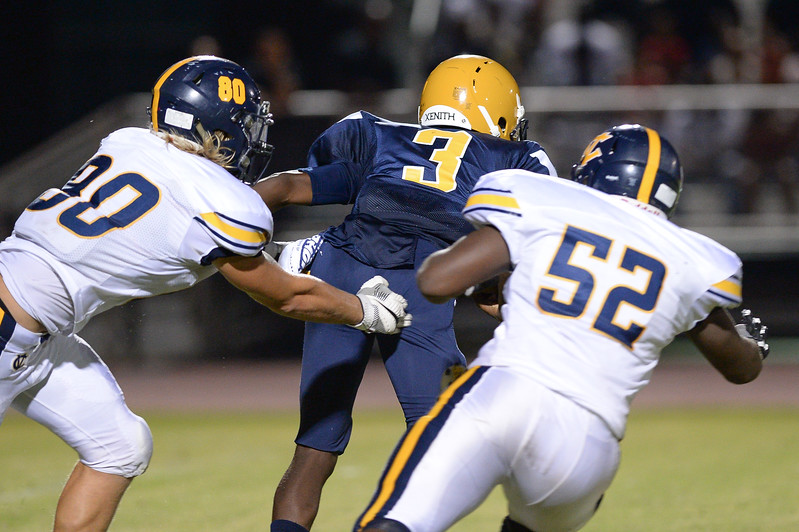 D.H. Conley Tyquan Satterthwaite (52) during tonights game.D.H. Conley  defeats Rocky Mount 60-43, Friday evening August 25, 2017 in Rocky Mount , NC (Photos by Anthony Barham / WRAL contributor.)
