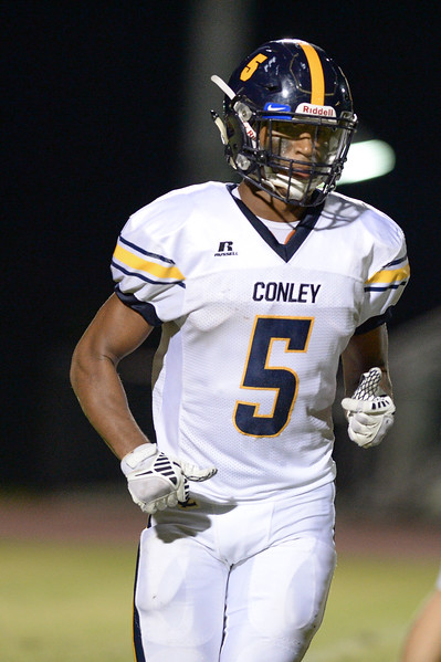 D.H. Conley CJ Johnson (5) during tonights game.D.H. Conley  defeats Rocky Mount 60-43, Friday evening August 25, 2017 in Rocky Mount , NC (Photos by Anthony Barham / WRAL contributor.)