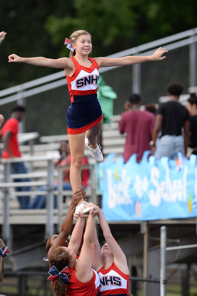 Southern Nash cheerleaders during tonights game. Southern Nash defeats Nash Central  48-7, Friday evening August 25, 2017 in Bailey Mount , NC (Photos by Anthony Barham / WRAL contributor.)