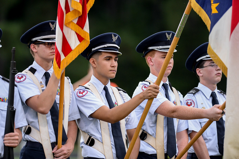 Southern Nash ROTC nduring tonights game. Southern Nash defeats Nash Central  48-7, Friday evening August 25, 2017 in Bailey Mount , NC (Photos by Anthony Barham / WRAL contributor.)