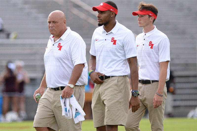 Southern Nash coaching staff during tonights game. Southern Nash defeats Nash Central  48-7, Friday evening August 25, 2017 in Bailey Mount , NC (Photos by Anthony Barham / WRAL contributor.)