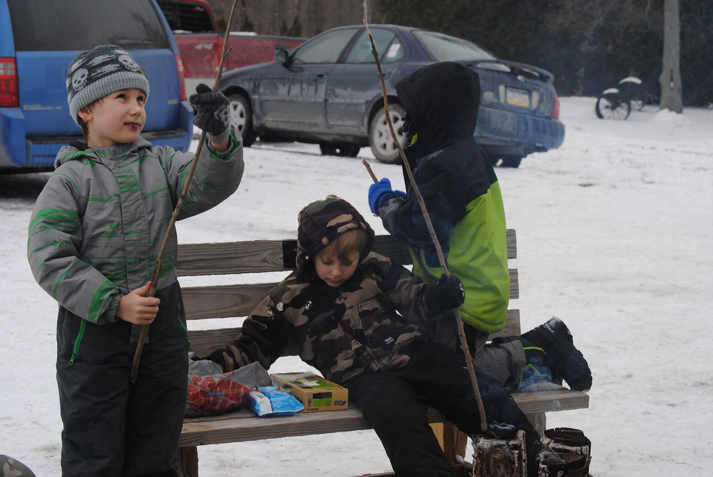 . Leah McDonald - Oneida Daily Dispatch Gavin Kimball, 9, left, Damian Kimball, 4, center, and Cecil McDonald, 6, roast marshmallows at the Winter Hibernation Festival at the Great Swamp Conservancy in Canastota, N.Y., on Saturday, Feb. 11, 2017.