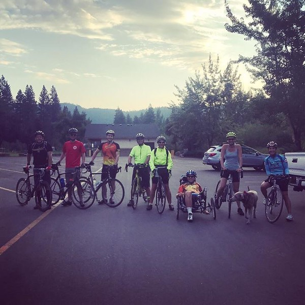The group sets out at 6 am for their ride around Lake Tahoe on Thursday